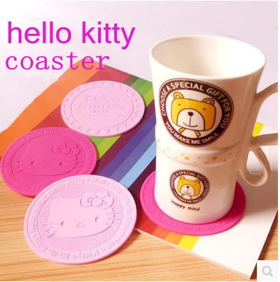 1pcs sample hot pink&pink Hello Kitty Soft Silicone Coffee Coaster kidproof Cup wedding party birthday party gifts free shipping(China (Mainland))