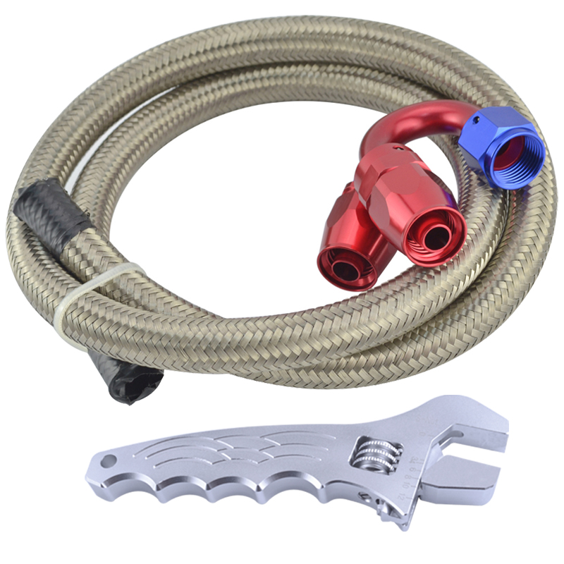 AN 6 Oil Fuel Line Hose 1 Meter Stainless Steel Braided Hose Line+Straight+180 Degree Swivel AN 6 Oil Fittings With Spanner(China (Mainland))
