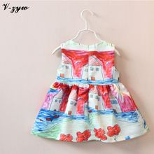 Hot Sale 2016 Graffiti Painted Small House Children Dresses Girls Summer Paragraph Dress Baby Girls Clothes Cute Baby Dresses