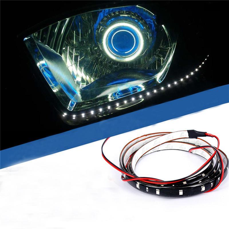 30CM 15 LED SMD Lamp String Waterproof Flexible Car Soft Strip White Blue Light free shipping 1pcs(China (Mainland))