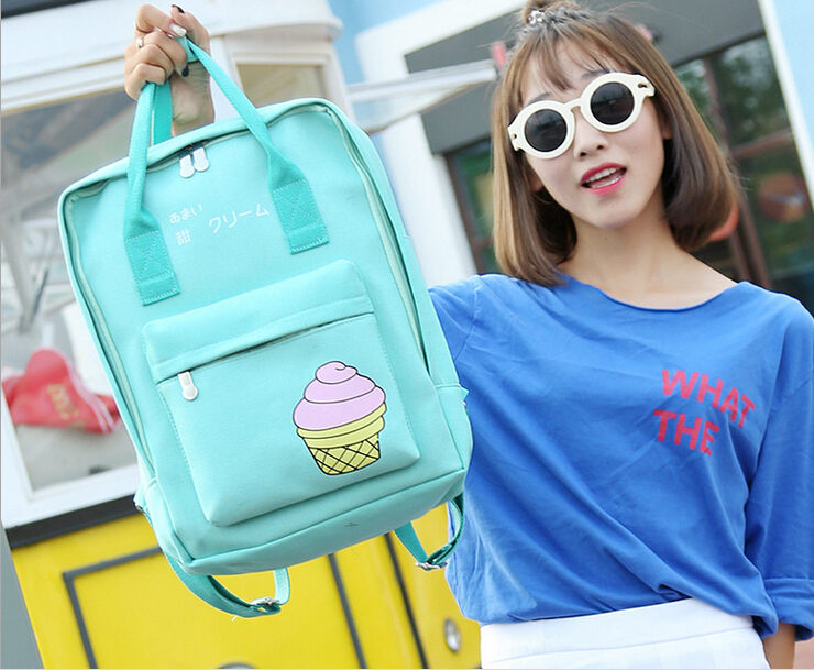 2016 Fresh Ice Cream Printing Backpack Canvas Tote Backpack Cartoon Backpack For Girls Students School Bag Portable F470(China (Mainland))