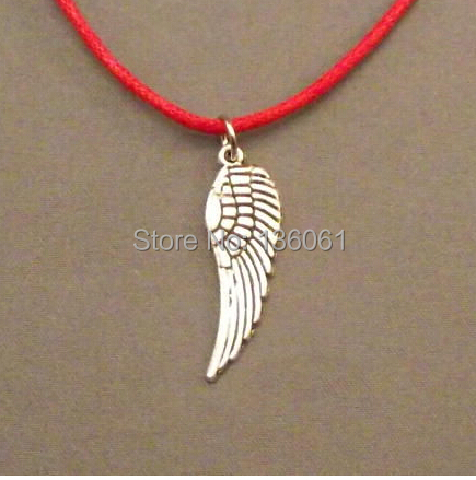 Fashion Vintage Silvers 10PCS Angels Wing Charms Statement Red Wax Line Choker Necklace Pendants Women Jewelry DIY X442(China (Mainland))