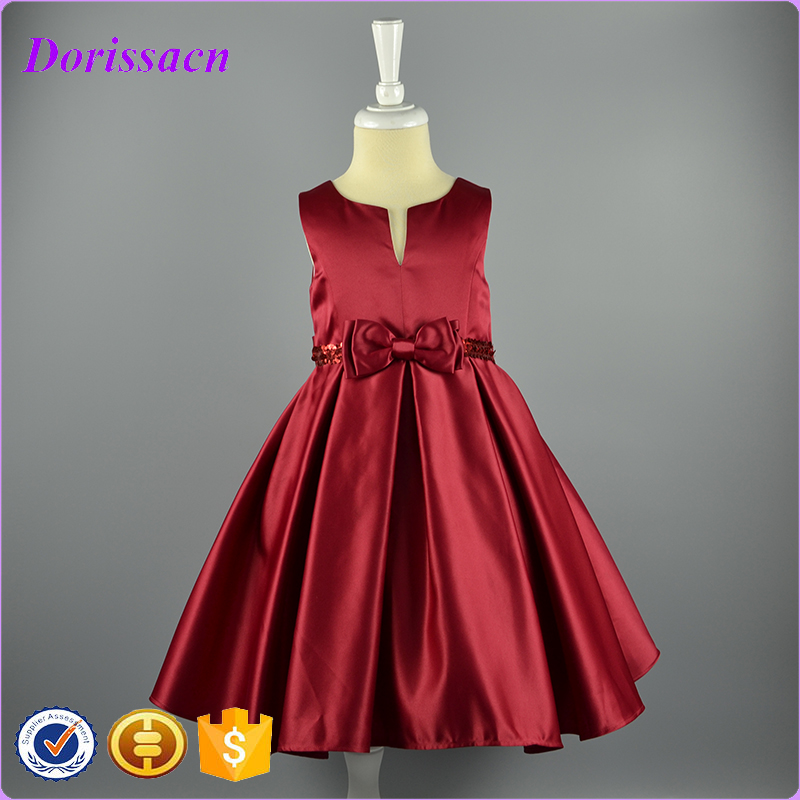 high quality cheap red satin bow baby girl dress sleeveless knee length ruffle children clothing costume spring summer wear 2016
