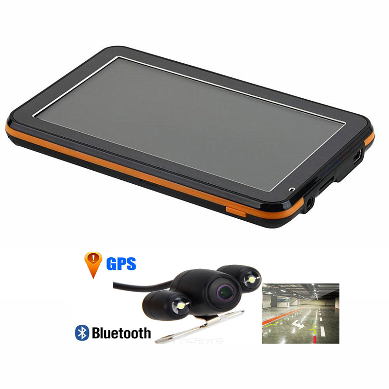 "5"" 256M/8GB wince6.0 FM transmitter bluetooth av-in free maps vehicle car gps navigation navigator+Parking Rear View Camera(China (Mainland))"