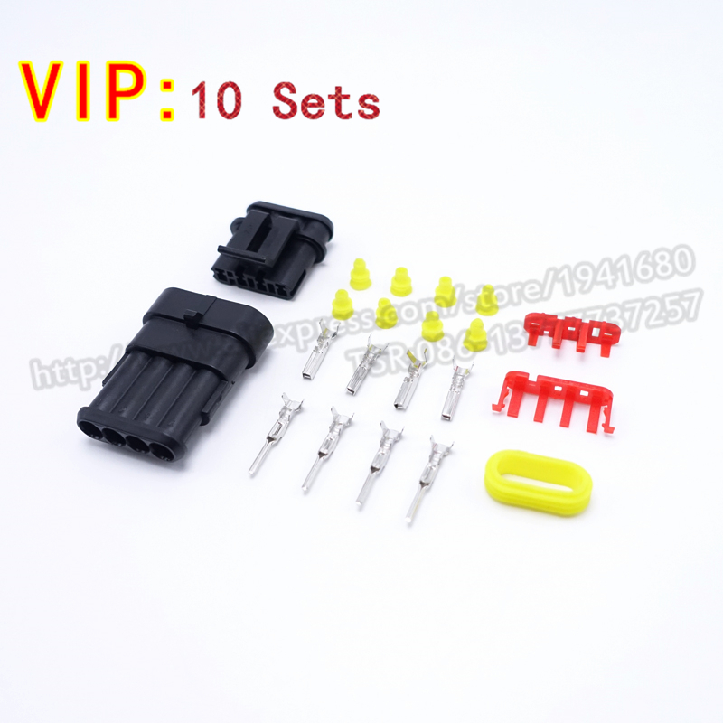 10 Sets Kits AMP 1.5 Series Connector Four Pin Male/Female Car Connector Plugs AMP No.282088-1 282106-1 Shipping With Registered<br><br>Aliexpress
