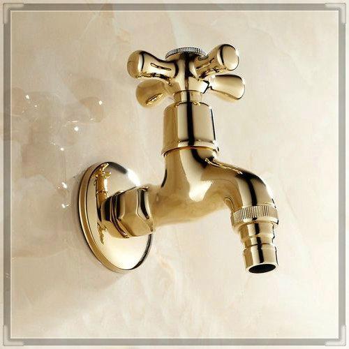 New Garden Golden Brass Finish Bathroom Wall Mount Washing Machine Water Faucet Taps bath mixer tap toilet pool use 8587K water(China (Mainland))