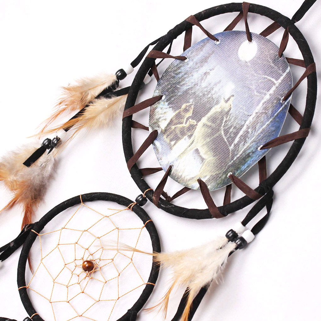 Handmade Dream Catcher Net Feather Wall Hanging Decoration Wolf Pattern Gift