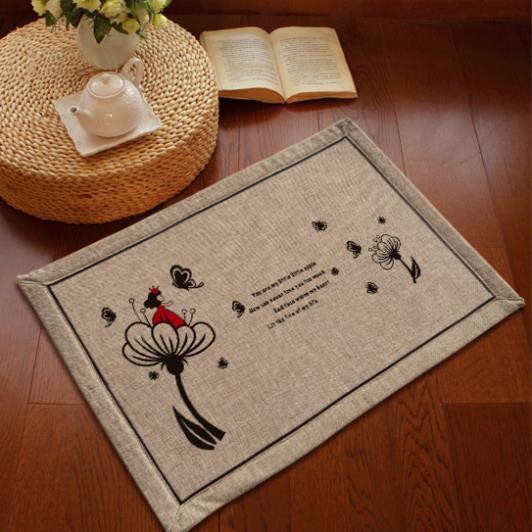 Fresh Japan Style Door Mat Natural Cotton And Linen Anti Slip Floor Mat Machine Washable Floor Carpet For Hallway Room Mat(China (Mainland))