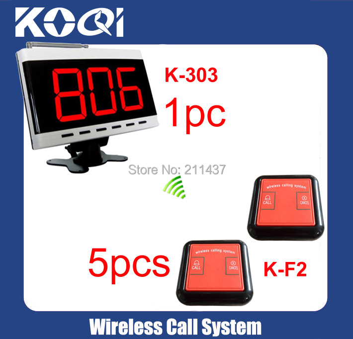 DHLfree shipping 433.92MHZ Assistant calling systems K-303 display for Coffee shop +5pcs K-F2 Emergency button(China (Mainland))