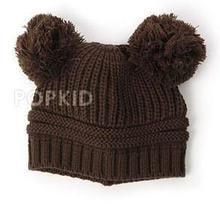 Wholesale Children's boy/girl beanies hats Fashion Baby's Winter Warm Knitted caps double ball solid color hat free shipping(China (Mainland))