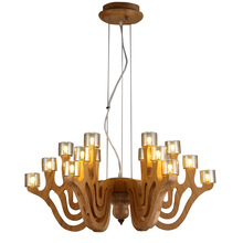 Modern Simple Wood Chandelier Wood 18 Head Bedroom Dining Room Chinese Style Lighting Decor(China (Mainland))
