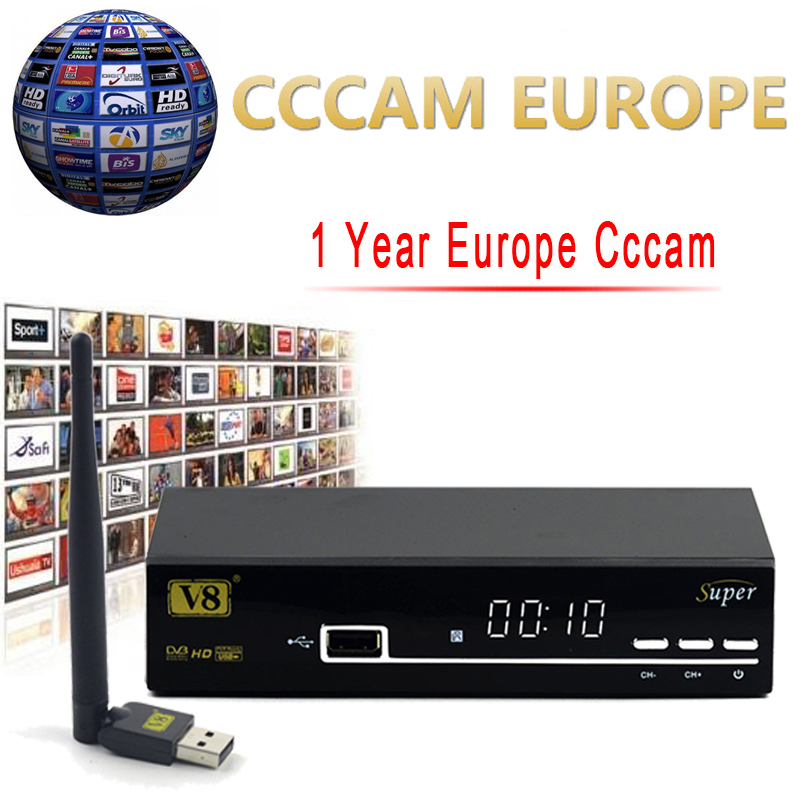 1 Year Europe Cccam Server HD Freesat V8 Super DVB-S2 Satellite Receiver Full 1080P Italy Spain Arabic Cccam Cline With USB Wifi(China (Mainland))
