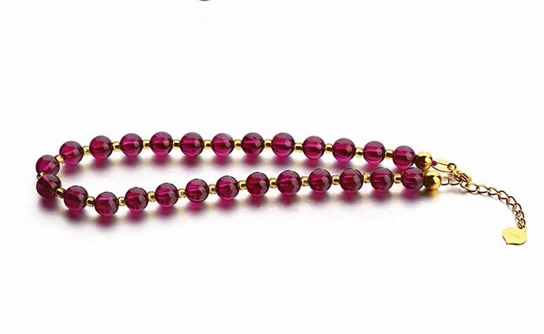 fashion Italy Design Solid AU750 18K Yellow Gold Smooth Beads 5mm Garnet Bracelet