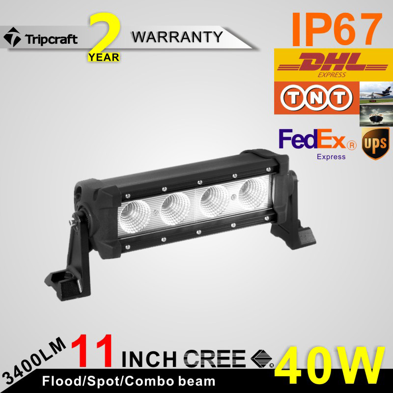 Free Shipping 11 inch 40W CREE LED Offroad Lights Bars Spot Flood Beam Work Light Truck 4WD 4x4 BOAT UTE 12V Working Light bar