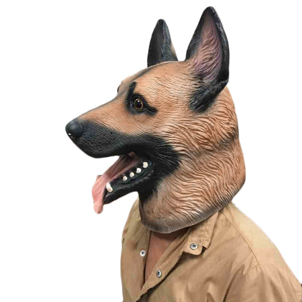 Animal Dog Head Latex Mask Full Face Head Party Mask Halloween Dance Party Costume Masks Theater Toys Fancy Dress Festival Gift