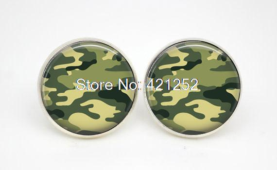 10pairs/lot Army Camouflage earrings Glass photo earrings stud post(China (Mainland))