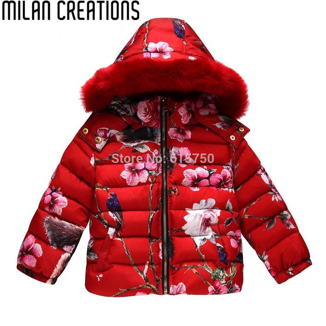 Зимняя куртка девушки ребенок девушки пуховик парки с животных цветочный печатных капюшоном мех дети пуховики девушки верхняя одежда пальто