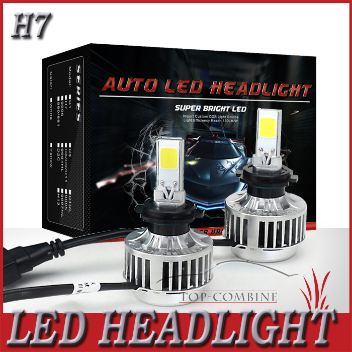 Free Shipping All In One H7 LED Auto Headlight COB LED 12V White 3000LM Fog DRL Car Head Lamp Light All In One(China (Mainland))