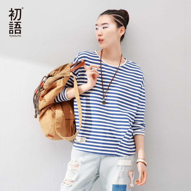 Toyouth Women T-Shirts Batwing Long Sleeve Striped Pattern O-neck Casual T shirt Female Tees Cotton Elegant Ladies Tees Tops(China (Mainland))