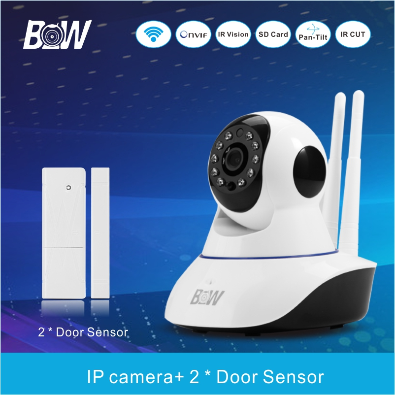 Mini BW Smart Ip Camera Security Alarm System With 2 Door Sensor Network Wireless Cam Infrared CCTV Monitor Detector BWIPC02D(China (Mainland))