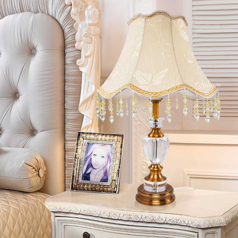 Vintage Crystal Fabric Table Lamp Shade Modern Office Living Bedroom Bedside Retro Table Lights Lighting Brused Antique Brass(China (Mainland))