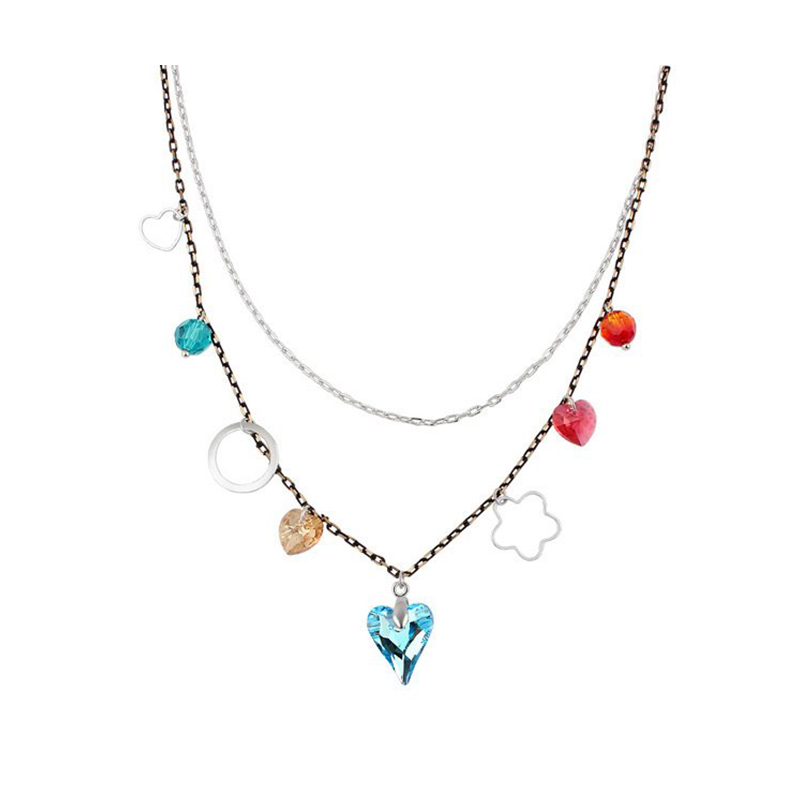Fashion Korean Bohemian Statement Necklace Collier Femme Crystal From Swarovski Silver Plated Necklaces Bayan Kolye For Party(China (Mainland))