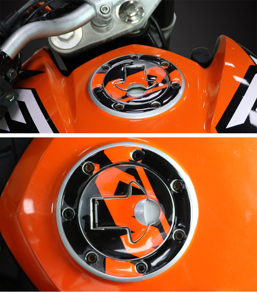 New Carbon-Look Fuel Gas Cap Cover Pad Sticker aluminum Motorcycle Fuel Tank Cover stickers For CFMOTO 150NK KTM DUKE200 390 RC(China (Mainland))