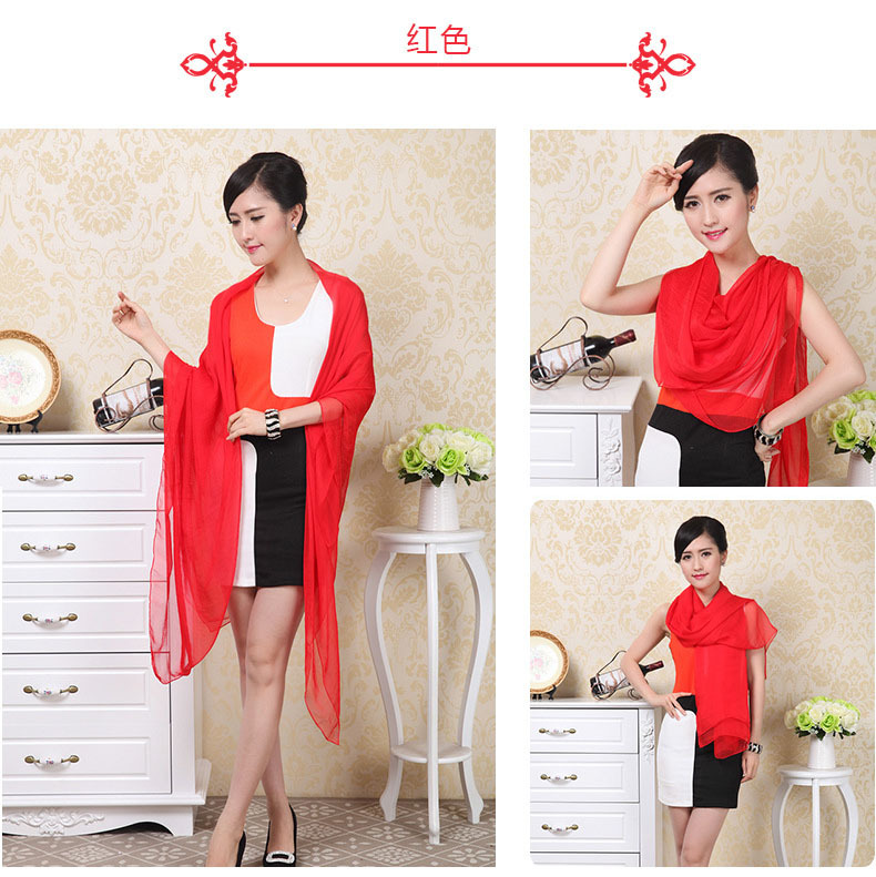 10ps/Lots Red Women's Chiffon Solid color Long scarves scarf 140x170cm Big Shawl Pashmina(China (Mainland))