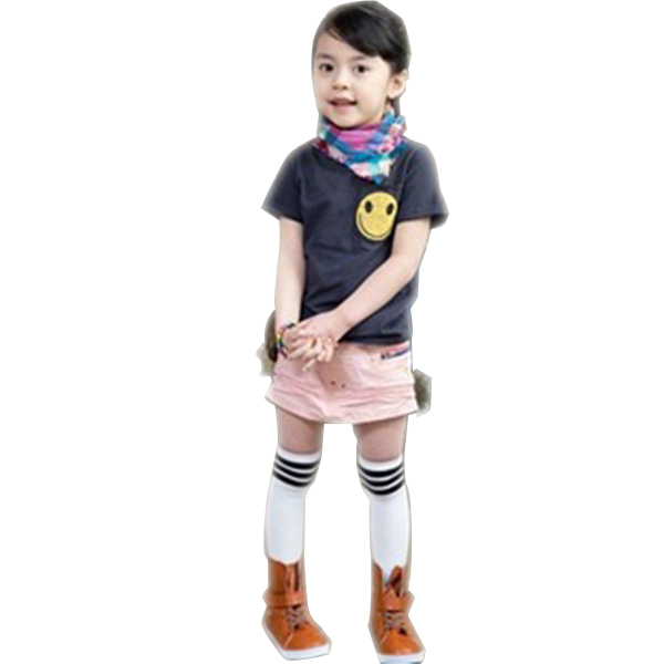 2-7Y Kid Girls Cotton Stripes Socks School High Knee Stock Pantyhose Free Shipping & Drop Shipping