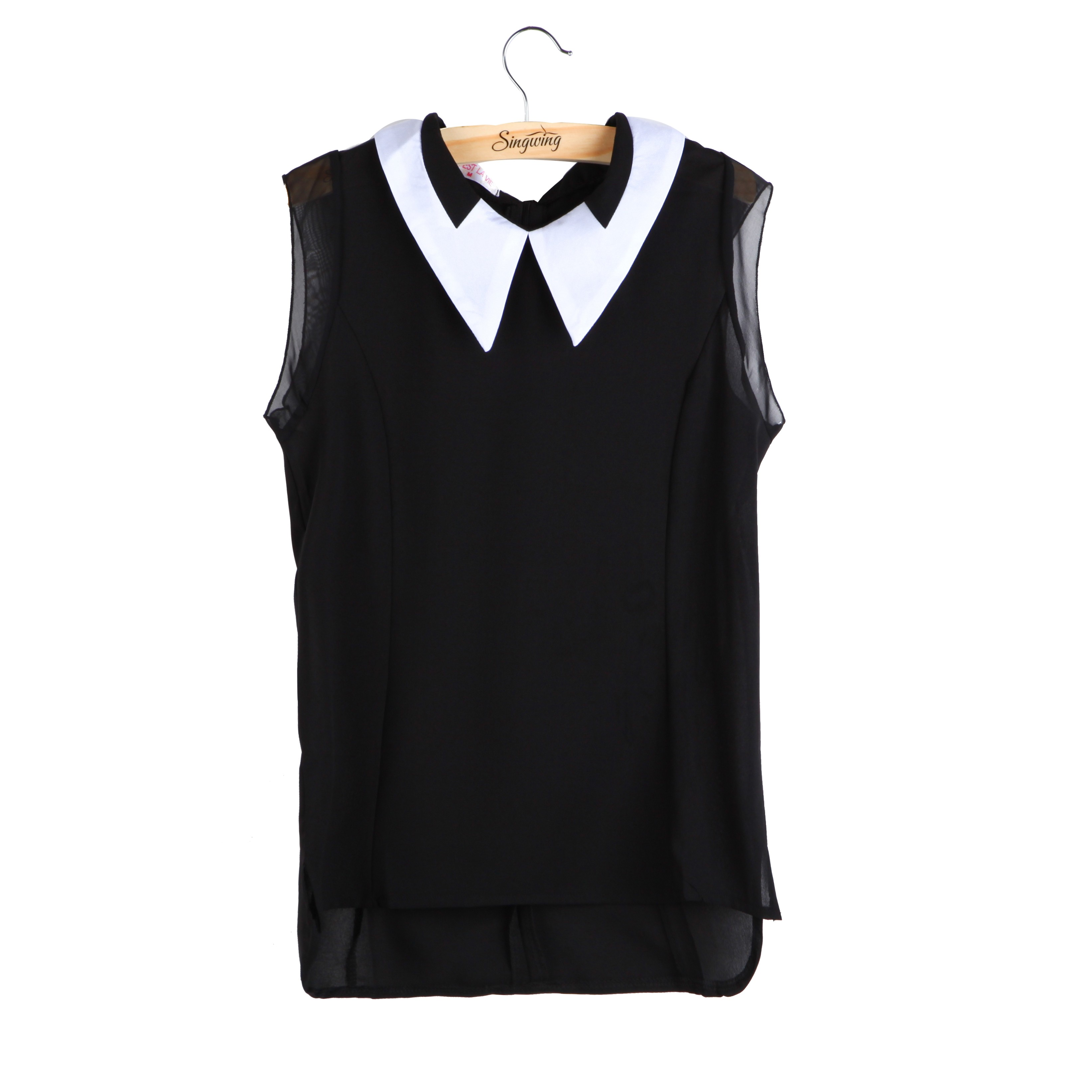 Fashion Cute Shirts Hot Sales Black White Dolled Vest Sleeveless Ladies Snow Spins Chiffon Shirt Square Collar New Summer Blouse(China (Mainland))