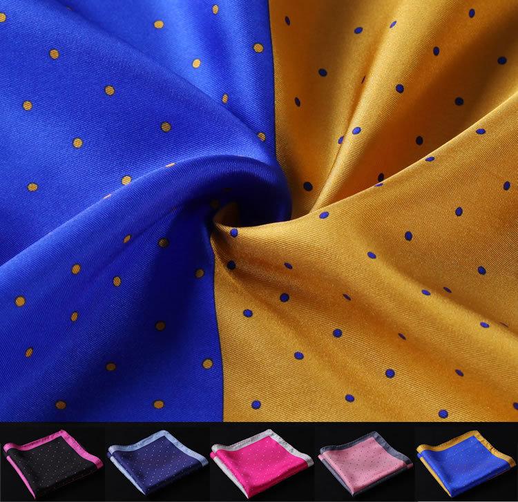 HN14 Polka Dot Handkerchief 100% Natural Silk Satin Mens Hanky Fashion Classic Wedding Party Pocket Square - HISDERN store