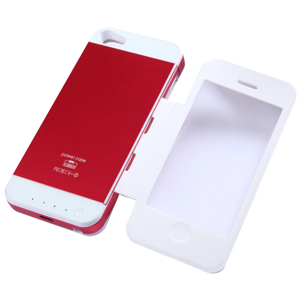 Red Color Leather Cover Power Bank Charger 3500mAh For iphone 5s 5(China (Mainland))