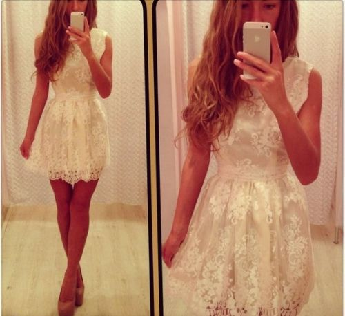 2016 New Style White Short Lace Dress Sleeveless Cute Women Party GownОдежда и ак�е��уары<br><br><br>Aliexpress