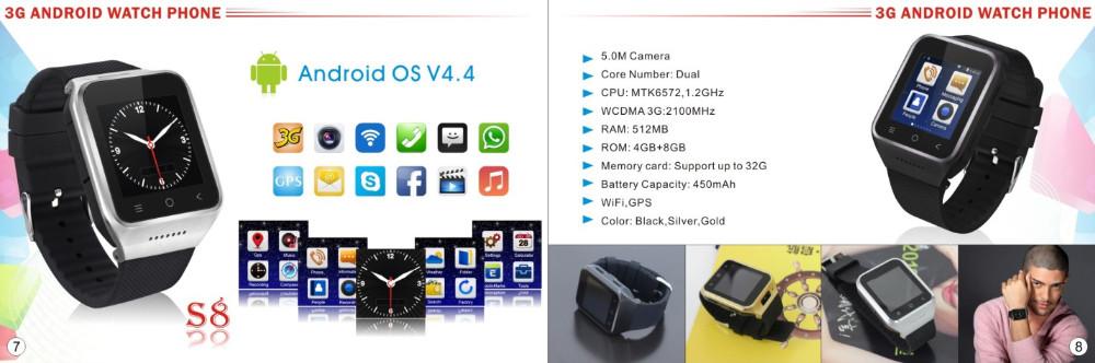 ถูก ใหม่ZGPAX S8 Android 4.4สมาร์ทนาฬิกาข้อมือโทรศัพท์มือถือ3กรัมGPS WiFi MTK6572 Dual Core