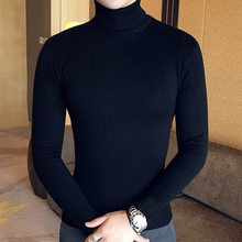 겨울 높은 목 두꺼운 따뜻한 스웨터 남자 터틀넥 브랜드 망 스웨터 슬림 맞는 (China)
