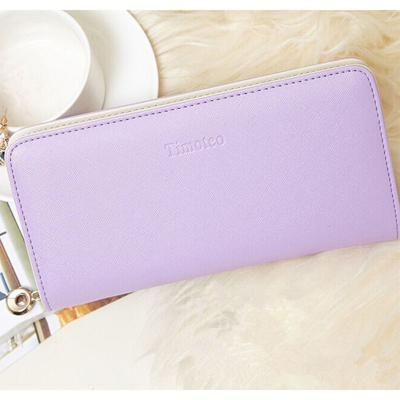 2016 Fashion women wallet candy color PU leather wallet long Ladies clutch coin purse casual handbag Carteira Feminina DL1989(China (Mainland))
