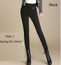 Sale!2016 New women office work pants High stretch cotton ladies pencil pants black blue White female High Waist trousers(China (Mainland))