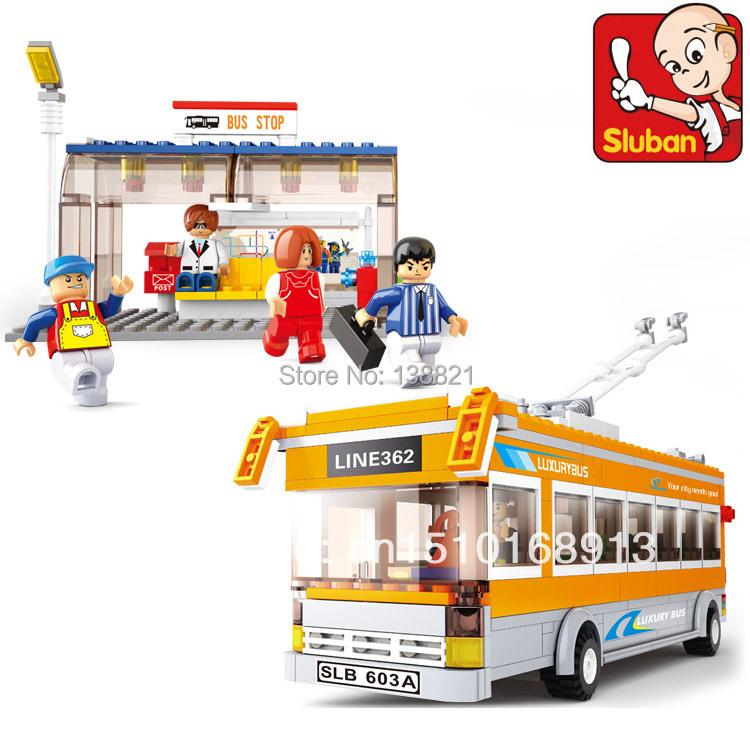 Educational DIY Toys for children Sluban Building Blocks Trolley bus self-locking bricks Compatible with Lego(China (Mainland))