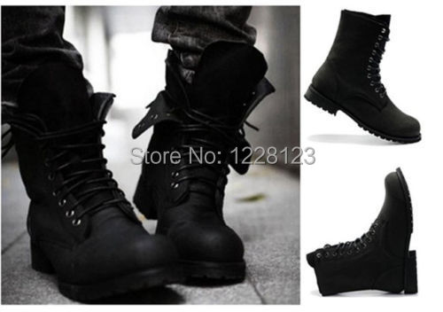 Black Mens Retro Combat Boots Western Leather Lace Up Shoes Round ...