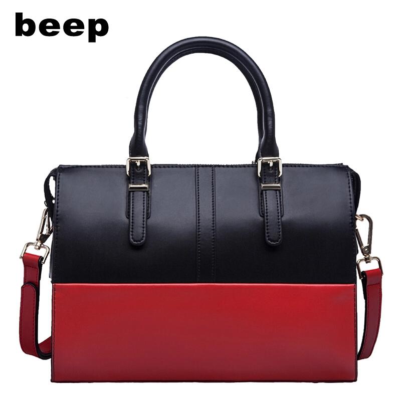 Фотография 2015 BEEP Famous Brand Genuine Leather Women Bag Retro Hit Color Splice Women Handbag Fashion Cowhide Women Messenger Bag