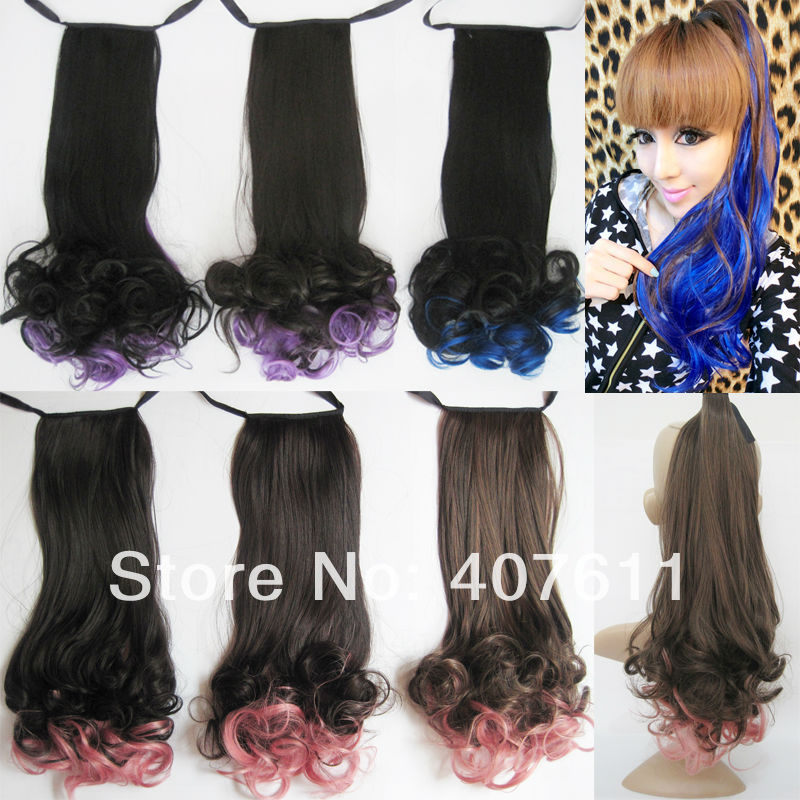 1pc free shipping-colorfull  ponytails, synthetic ombre hair extensions for ladies,heat resistant fiber,6colors available<br><br>Aliexpress