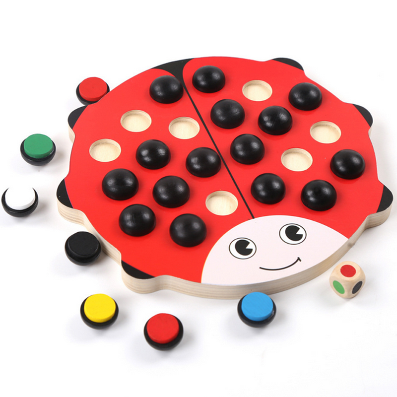 1Set Baby Kids Cute Wooden Ladybird Memory Chess Learning Educational Beetle Toys Training Parent-child Interaction Games Gifts(China (Mainland))