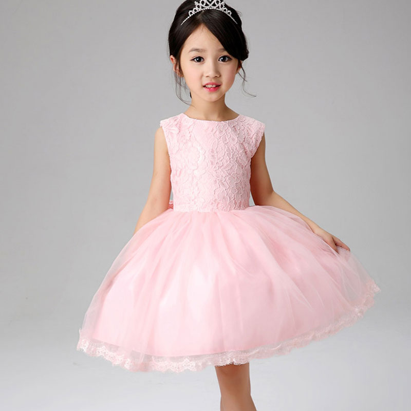 2016 Kids Wedding Dresses For Girls Sleeveless Birthday Party Princess Dress 3-7Y Children Bridesmaid Toddler Elegant Pageant(China (Mainland))