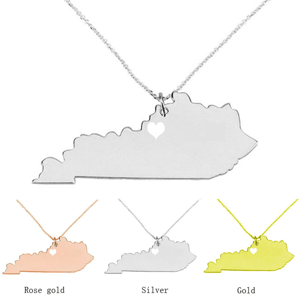 SUTEYI US Kentucky State Necklace 2017 Map Pendant Summer Style Necklaces Accessories Collares New Jewelry