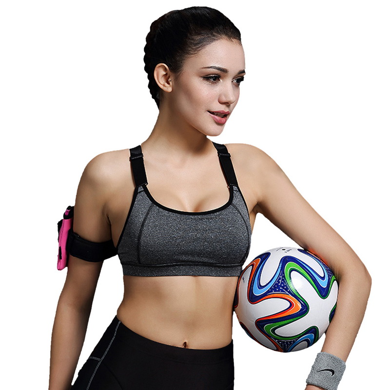 2015 New Women Sports Bra For Running Gym Padded Wirefree Shakeproof Push Up Top Bras Summer Style 1PC(China (Mainland))