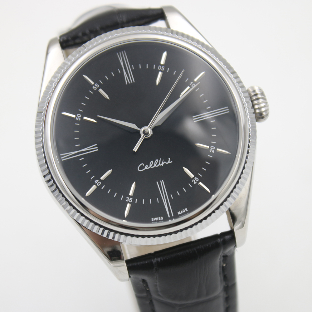 Здесь можно купить  Ro.Cellini 50505 Platinum 750 stainless steel High quality Black dial Automatic Movement Leather Men