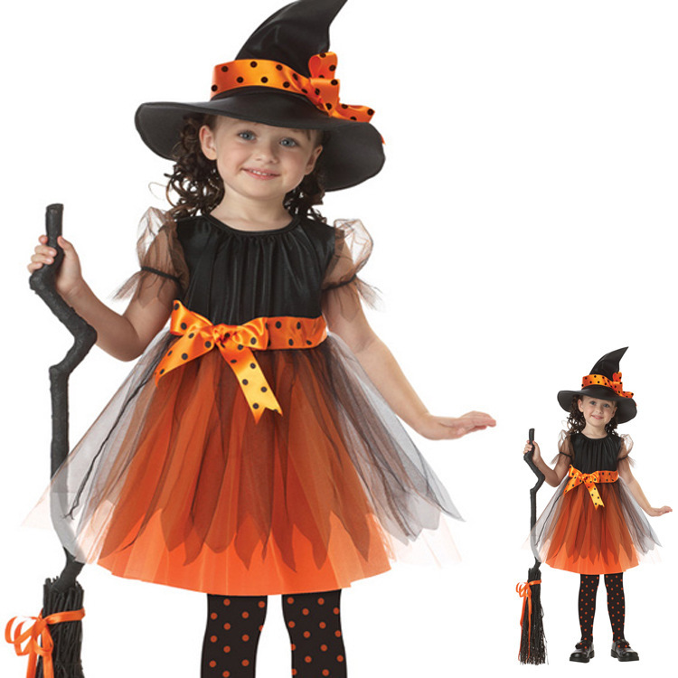 Fancy Infant Party Dresses Witcher Children Halloween Party Pumpkin Costume Girl Dress For Kid Fantasia Y069(Hong Kong)