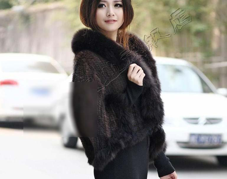 New Arrival Fashion Luxurious Winter Warm Capes With Mink Fur and Fox Fur Collar Pashmina For Women Hot  Female Coat 20131129-1 Одежда и ак�е��уары<br><br><br>Aliexpress