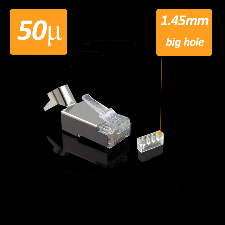 10pcs/ lot cat7 awg23 network connector plug tail clamp Split type 8P8C Rj45 double row big holes metal shielded shielding(China (Mainland))
