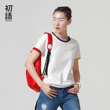 Toyouth Basic T Shirt Women Summer Short Sleeve O-Neck Cotton All-Match Tees Tops Female Color Patchwork Casual T-Shirts(China (Mainland))